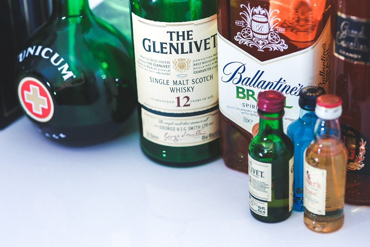 Assortment of spirit bottles