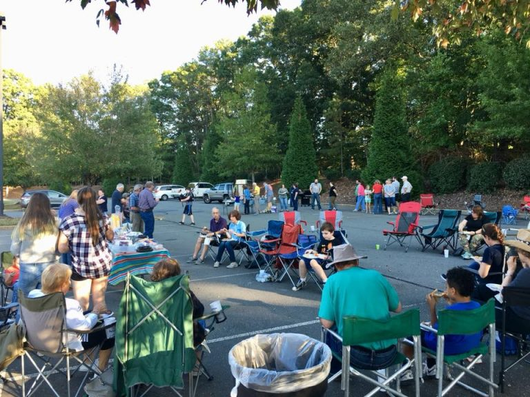 Families enjoying annual family barbecue 2017